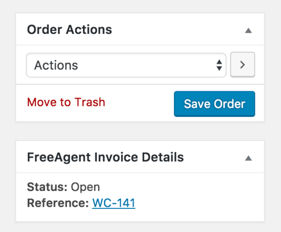 Screenshot of the Freeagent invoice meta-box shown on the Edit Order page