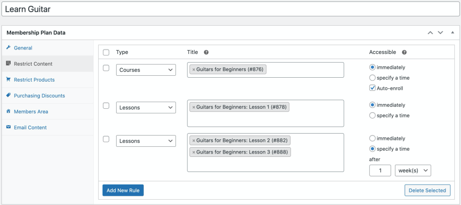 Shows how to restrict content for courses and lessons