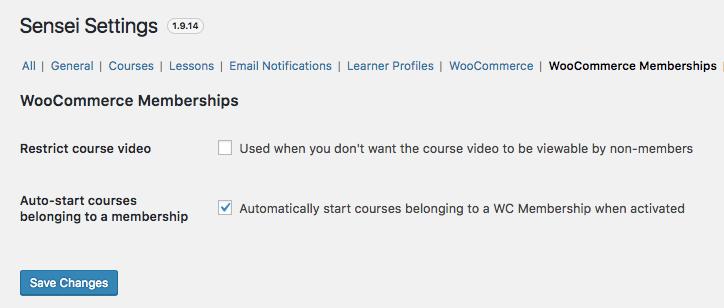 WooCommerce Memberships Sensei settings
