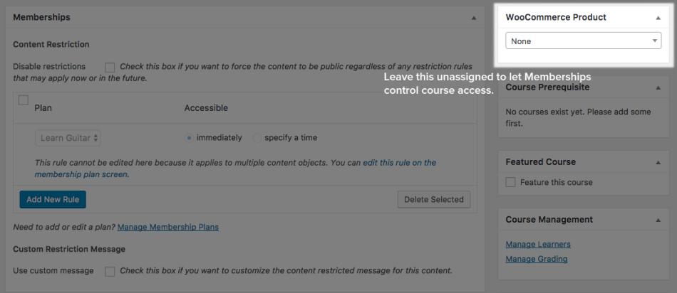 WooCommerce Memberships: Sensei course access