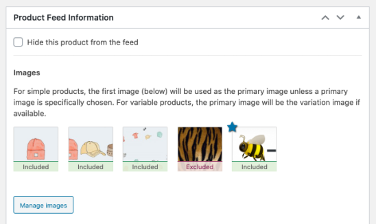 Screenshot of image management in Google Product Feed extension