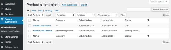 List of product submissions on WooCommerce Marketplace