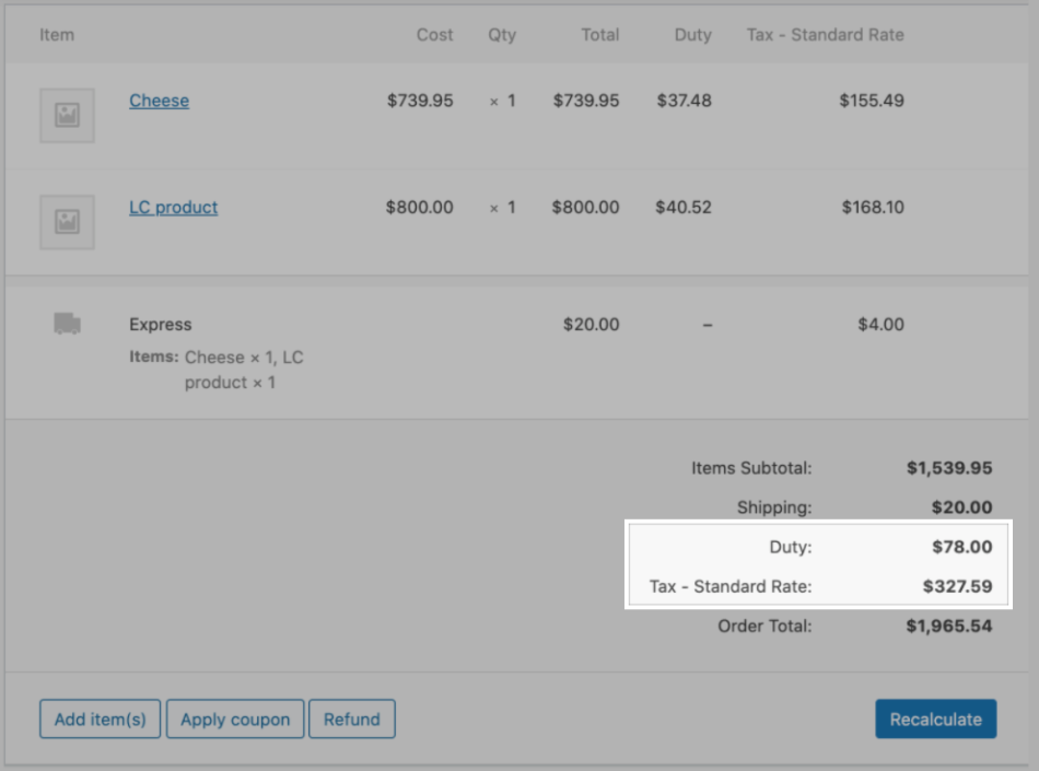 Cross-border fees on an order in the WooCommerce backend