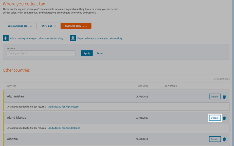 Selecting the details button for a customs duty country in Avalara