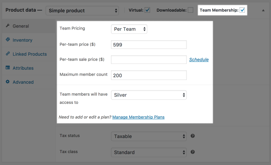 Teams for WooCommerce Memberships: per team priced team