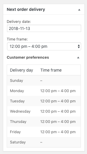 Edit subscription delivery details in the admin screen