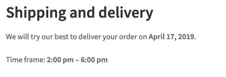 Delivery details for the next order of the subscription