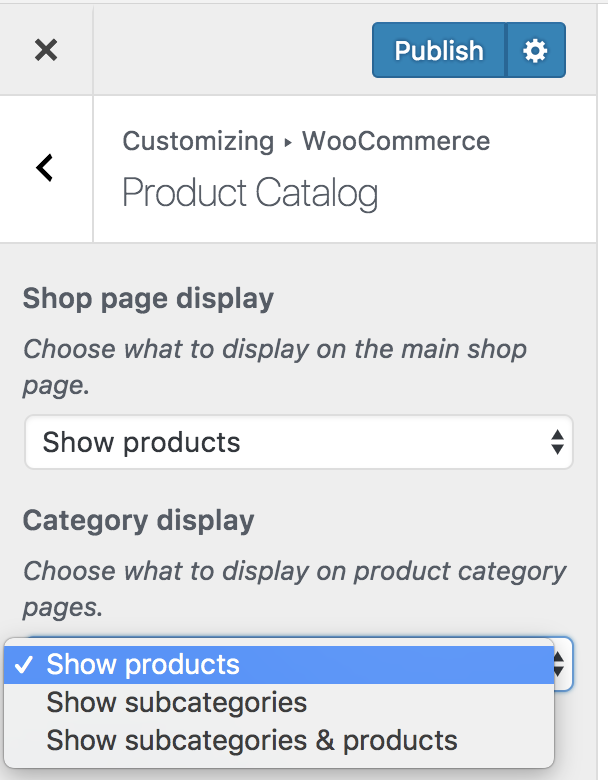 categorypages display