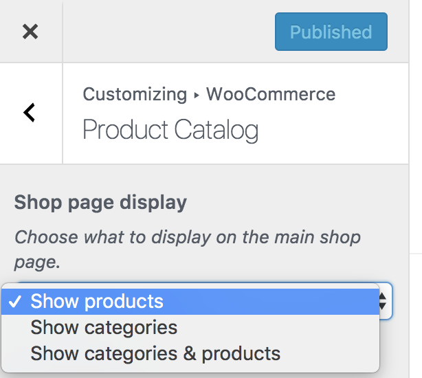 customizer shoppage options