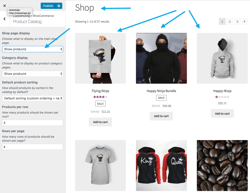 customizer shoppage products