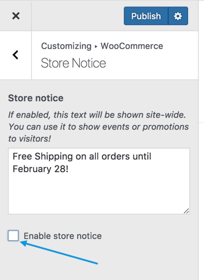 customizer storenotice disable