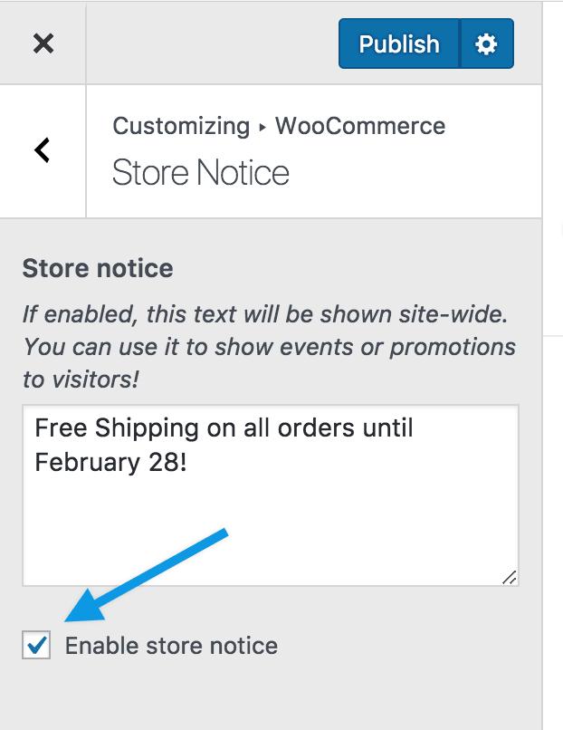 customizer storenotice enable