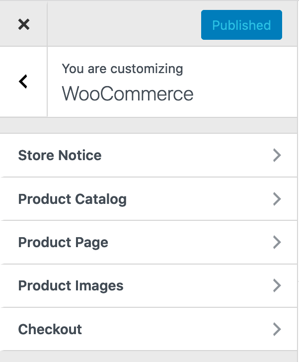 Options under WooCommerce in the Customizer