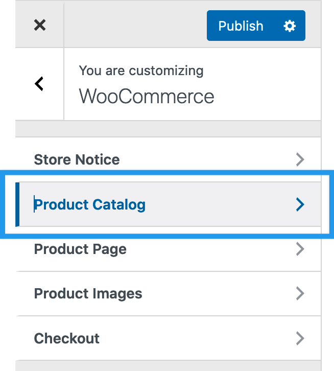 Product Catalog under WooCommerce in the Customizer