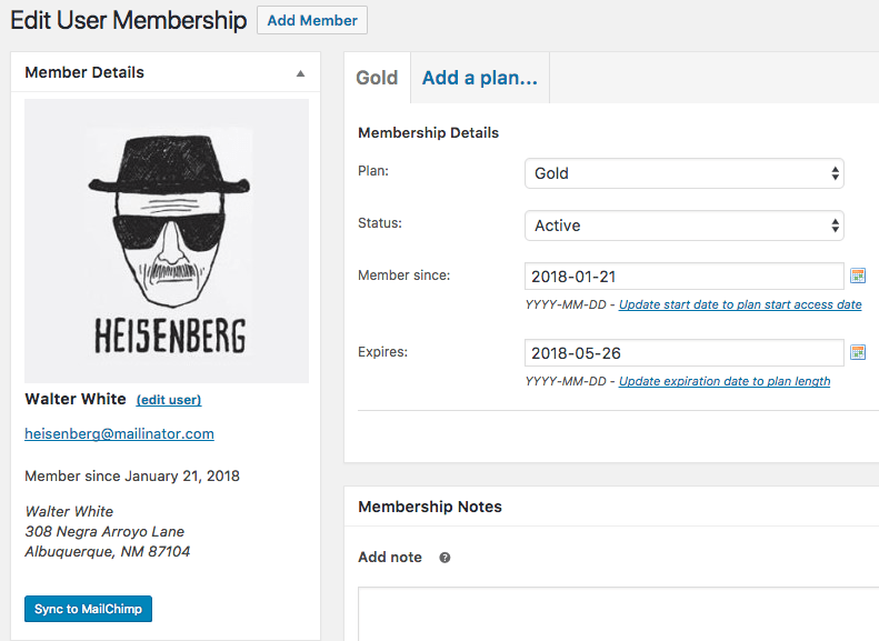 MailChimp for WooCommerce Memberships single actions
