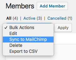 MailChimp for WooCommerce Memberships bulk actions