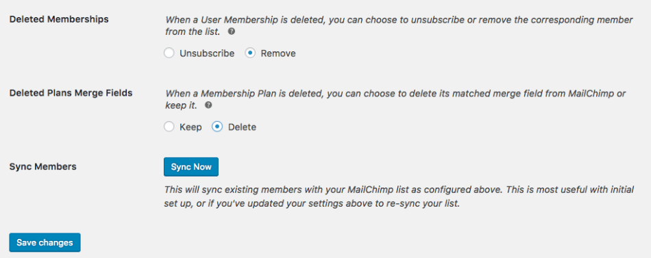 MailChimp for WooCommerce Memberships general settings