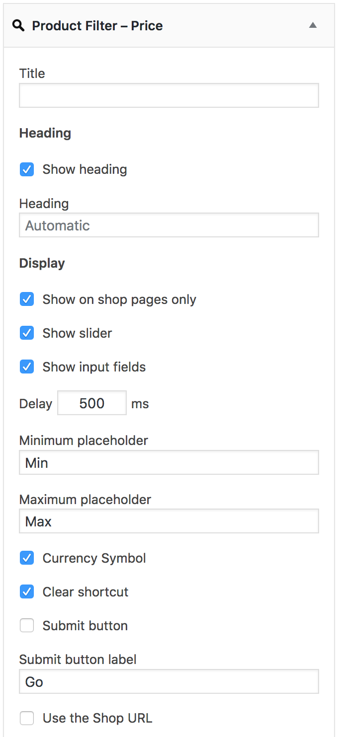 Product Filter – Price Widget Settings - Fields and Slider