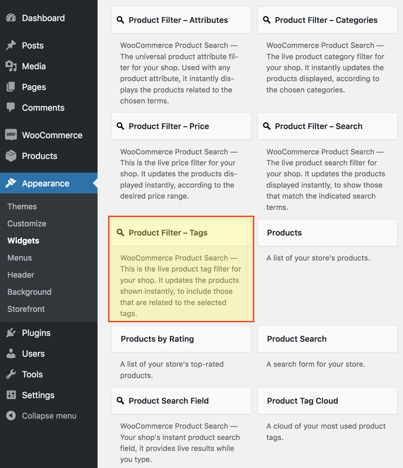 Product Filter – Tags - WooCommerce Docs