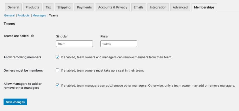 Teams for Memberships settings