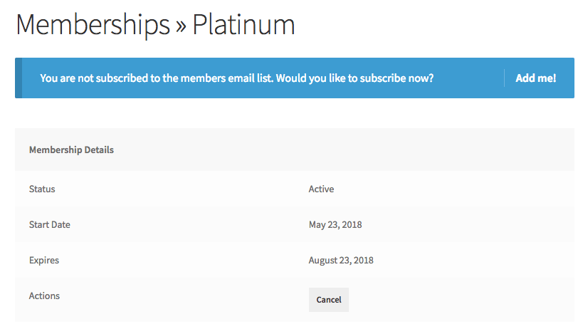MailChimp for WooCommerce Memberships: members area opt-in