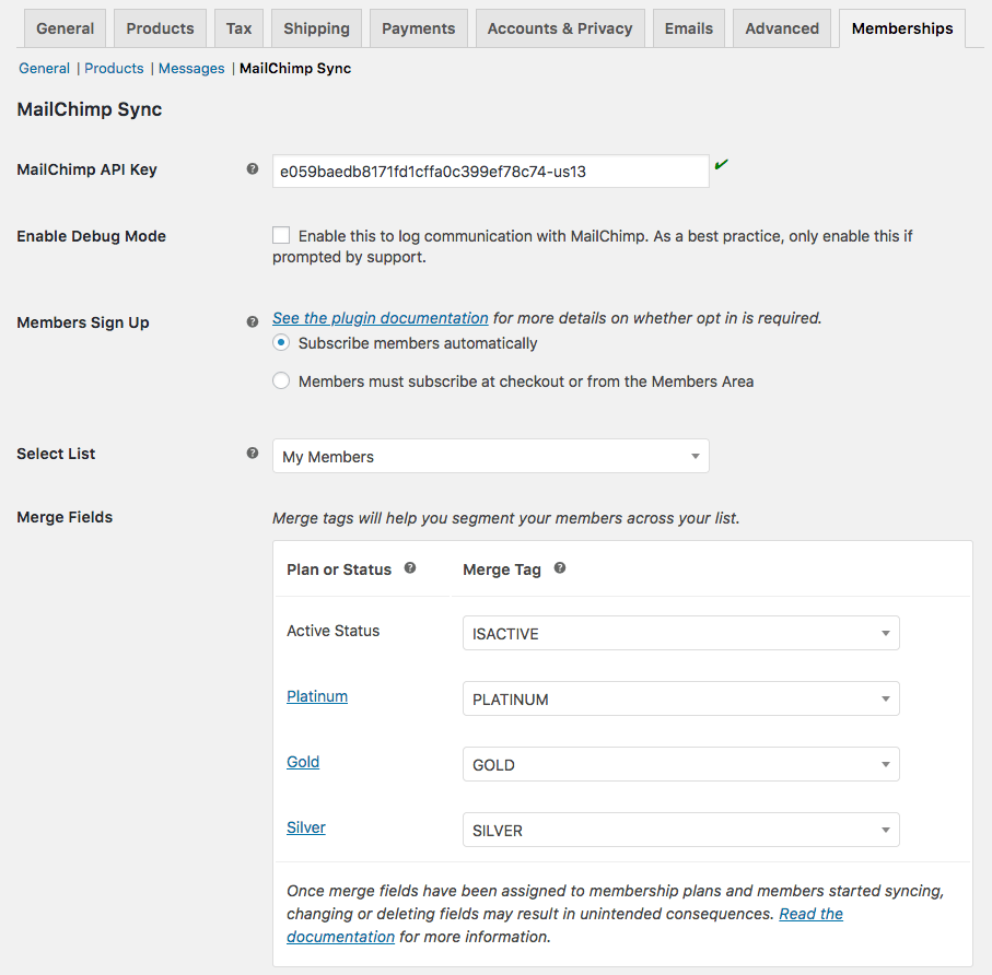 MailChimp for WooCommerce Memberships: List settings