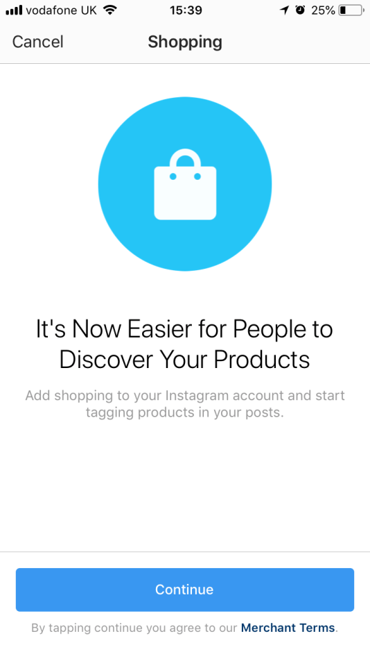 Screenshot showing the Shopping start page within the Instagram app