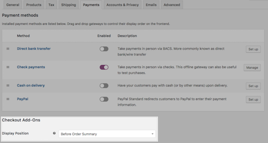 WooCommerce Checkout Add-ons Setting