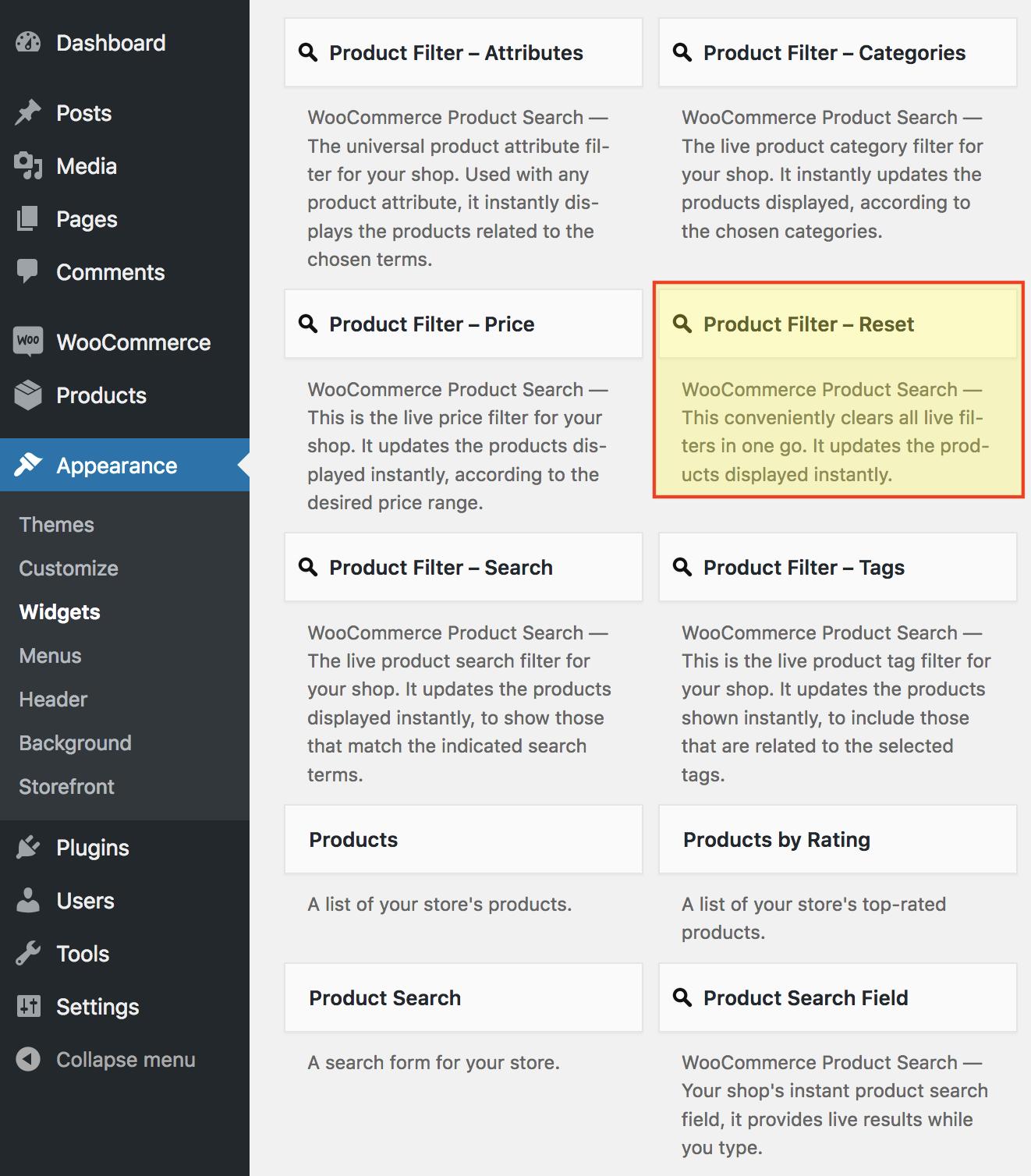 Product Filter – Reset Widget