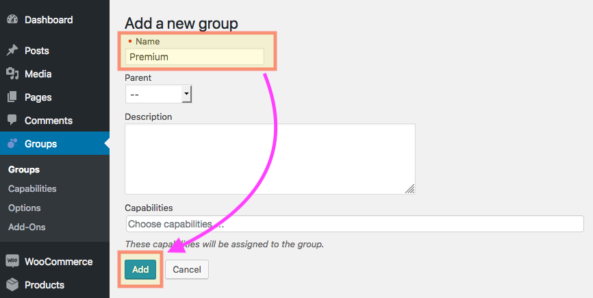 Showing the form where we create the Premium group