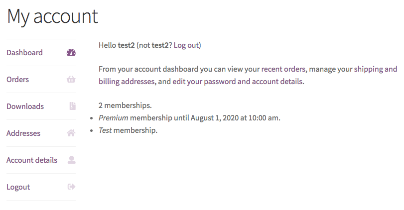 My Account showing customer memberships via shortcode
