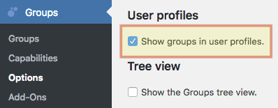Showing the option to display groups in user profiles enabled