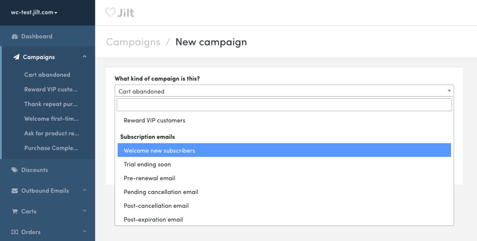 WooCommerce Subscriptions: New Jilt campaigns