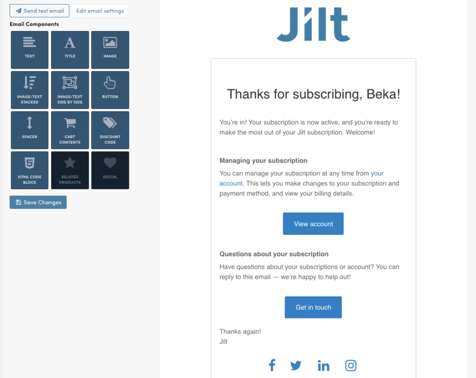 WooCommerce Subscriptions: Jilt welcome email content
