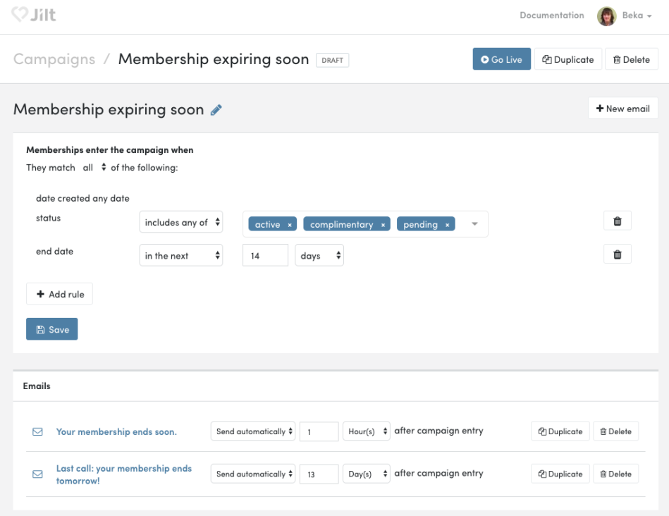 WooCommerce Memberships: Jilt expiring soon campaign