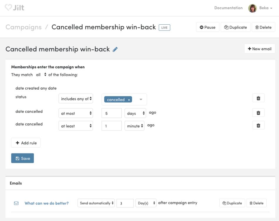 WooCommerce Memberships: Jilt cancelled membership email