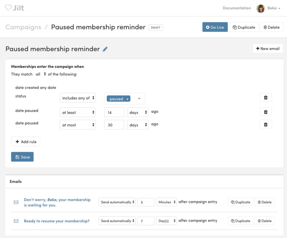 WooCommerce Memberships: Jilt paused membership emails