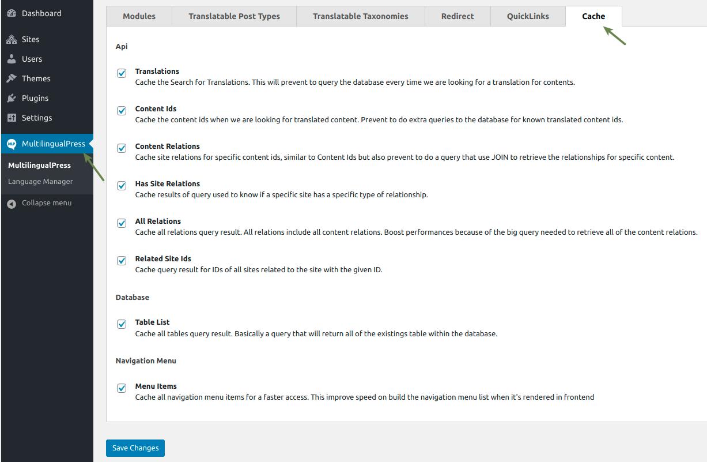 WooCommerce MultilingualPress Cache Settings