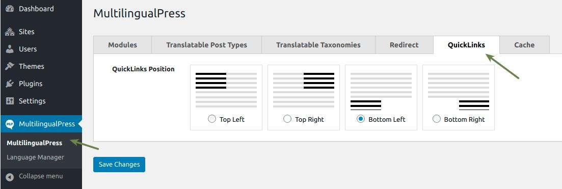 WooCommerce MultilingualPress QuickLinks