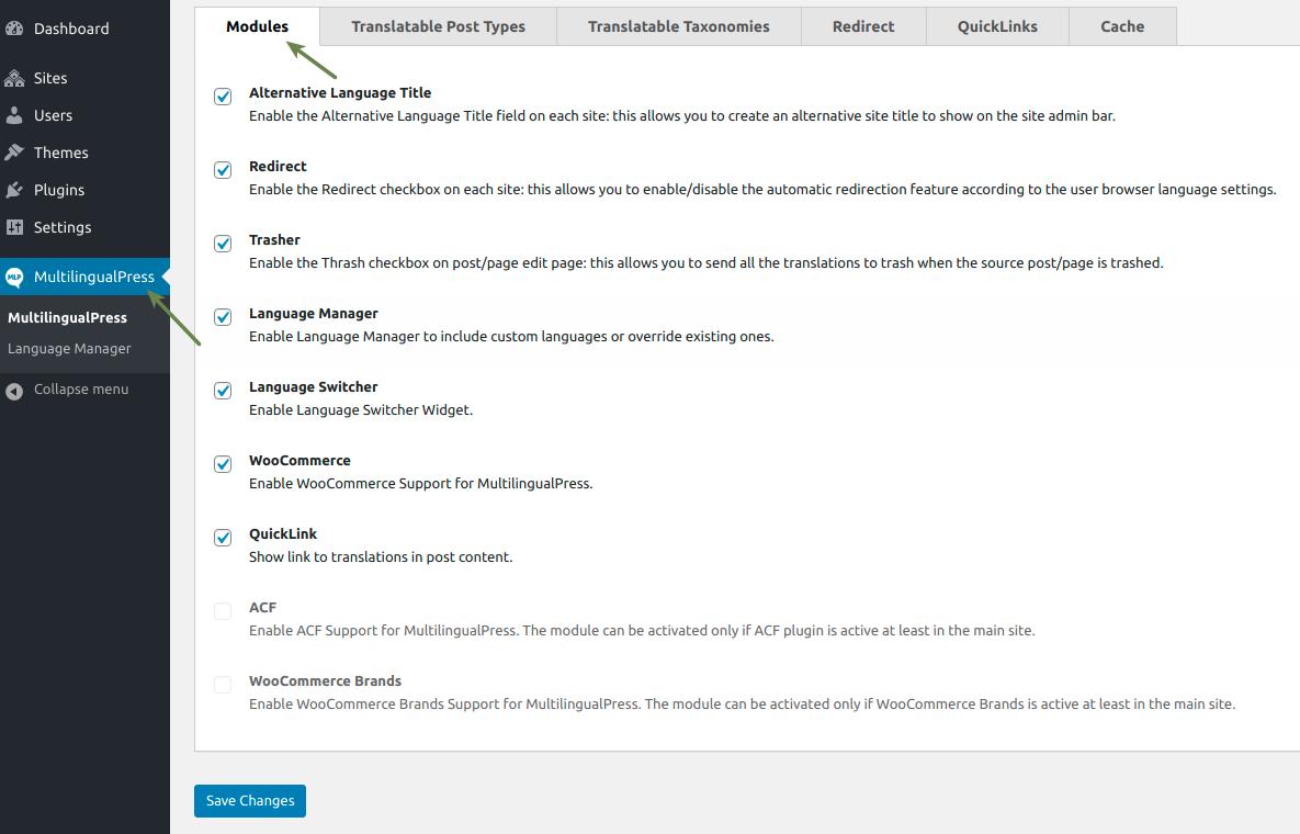 WooCommerce MultilingualPress Module Settings