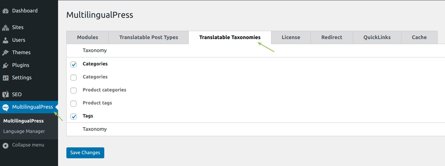 WooCommerce MultilingualPress Translatable Taxonomies Settings