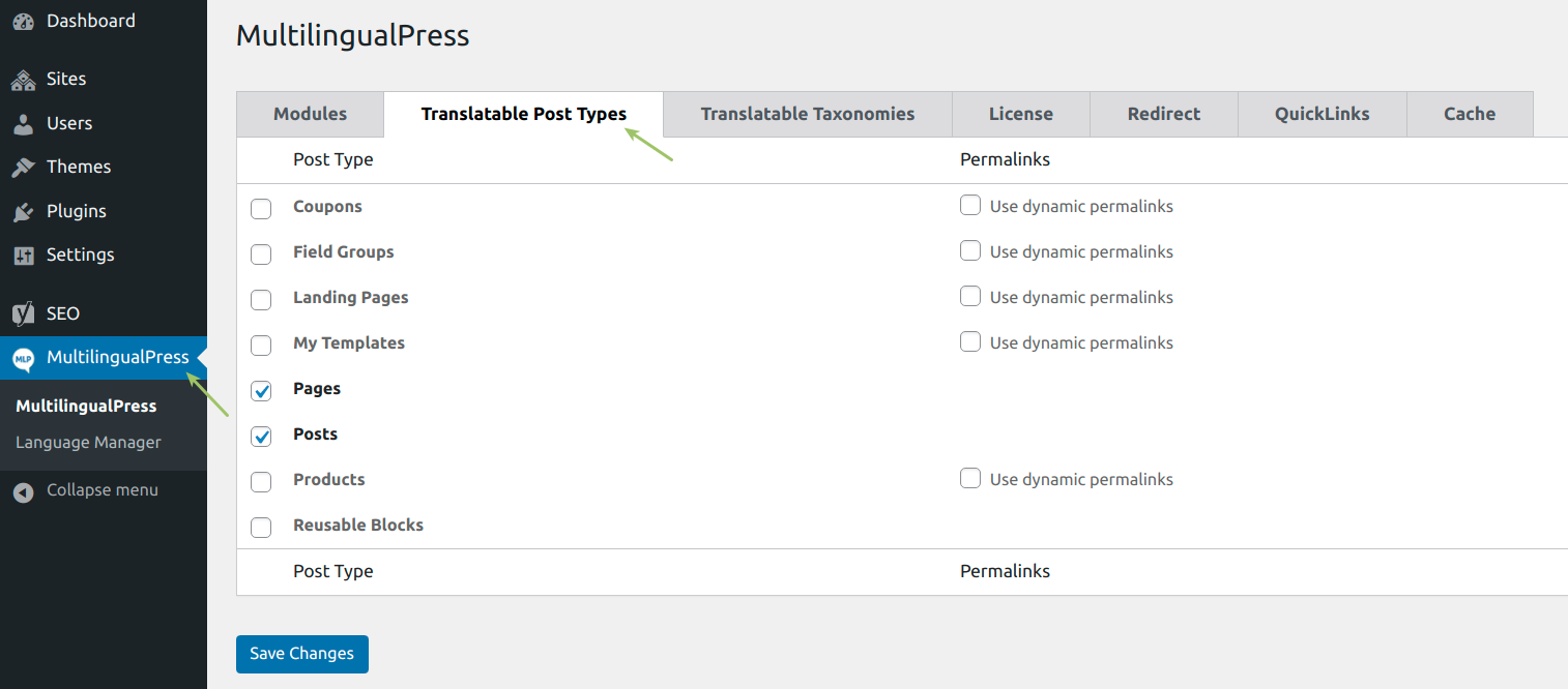 WooCommerce MultilingualPress Translatable Post Types Settings