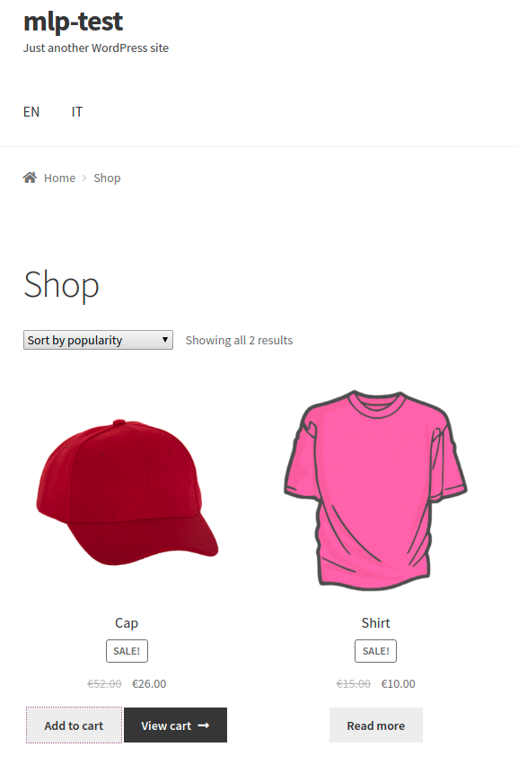 WooCommerce MultilingualPress EN products