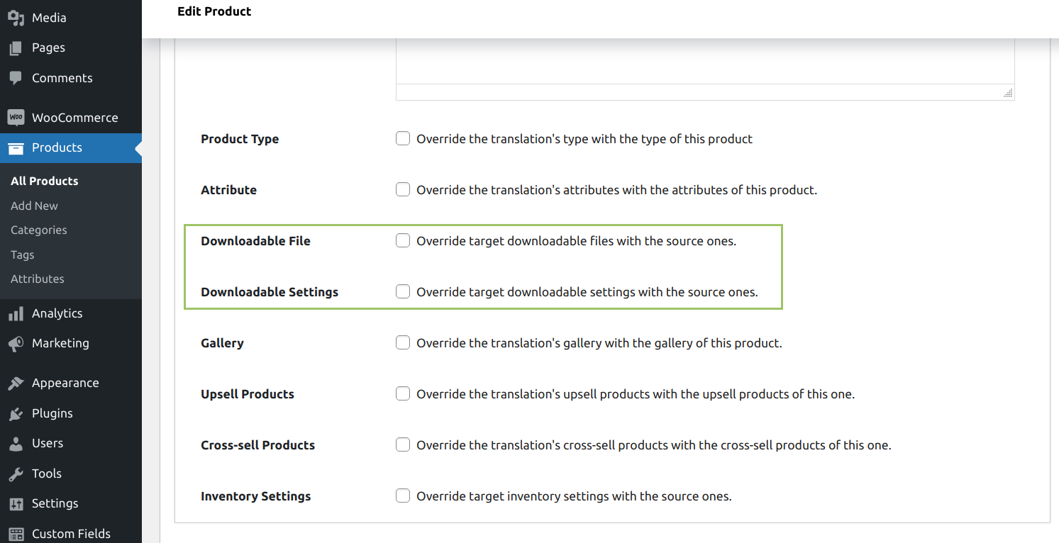 WooCommerce MultilingualPress Product Data -Downloadable Files and Settings