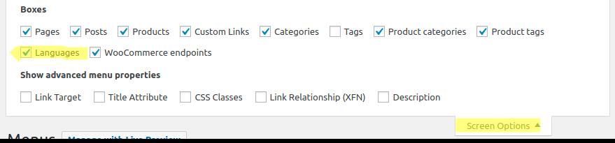 WooCommerce MultilingualPress Screen Options