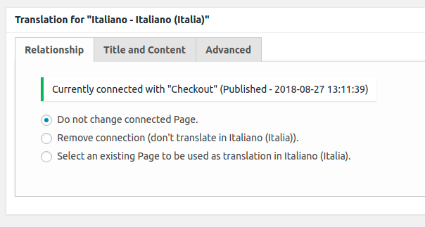 Woocommerce MultilingualPress Page Translation Metabox