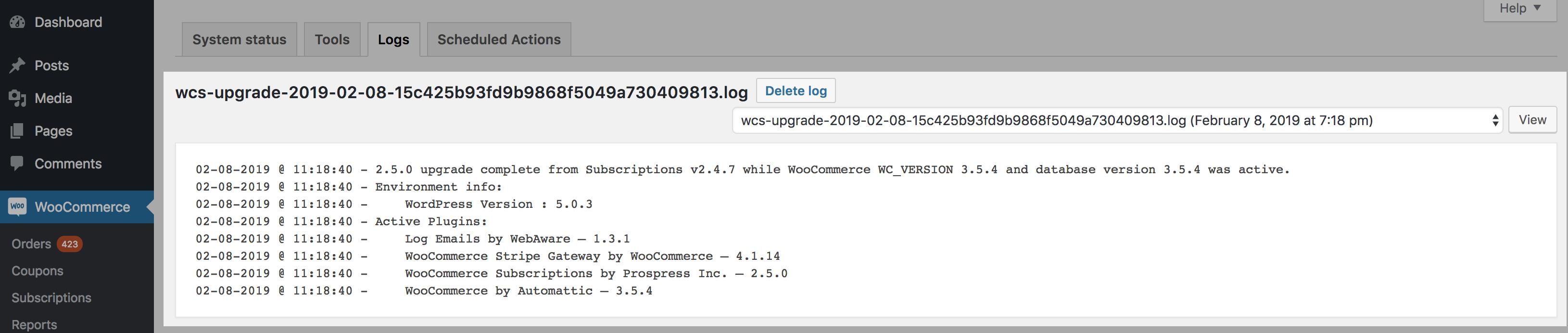 Upgrade Log Example