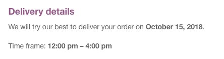 Delivery details in the emails