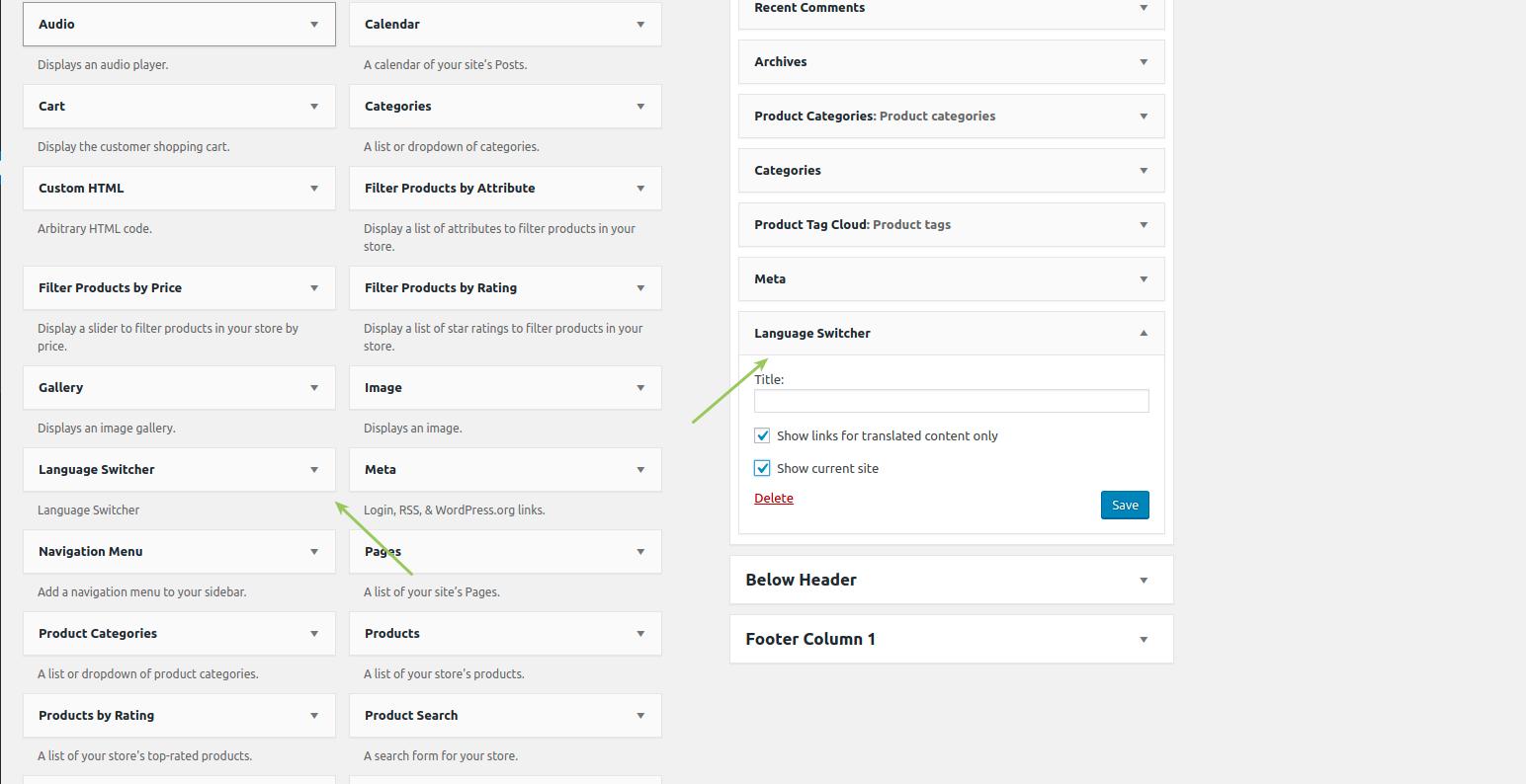 WooCommerce MultilingualPress Language Switcher Widget
