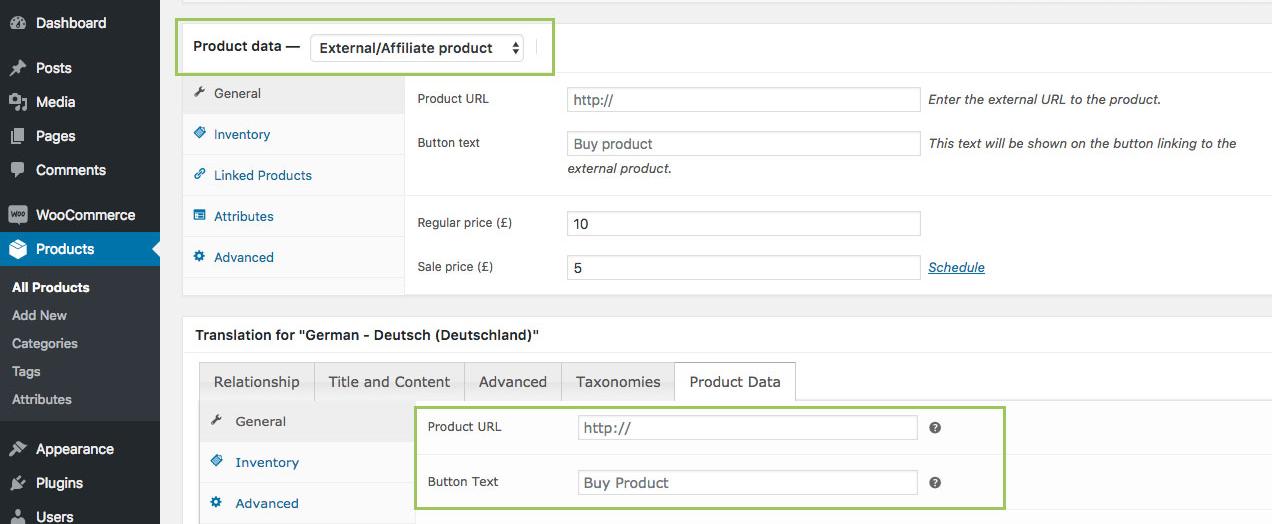 WooCommerce MultilingualPress Product Data - External Product